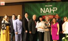 Nevada Congresswoman Dina Titus (4th from left) poses with the board of directors for the National Association of Hispanic Publications at the organization's 37th annual convention in Las Vegas on Oct. 25, 2018. EFE-EPA/Jose M. Pascual