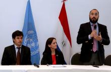 "(l. to r.) Marcelo Gonzalez, Paraguay's deputy minister for livestock; the UN resident coordinator in Paraguay, Linda Maguire; and the minister of Environment and Sustainable Development, Ariel Oviedo, take part in the UN-organized forum ""Sustainable Livestock and Forests"" on Nov. 6, 2018, in Asuncion. EFE-EPA/Andres Cristaldo"
