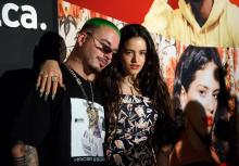 Spanish singer Rosalia (R) poses with Colombian singer J Balvin (L) at the YouTube Music: Latin Music Press Brunch in Las Vegas, Nevada, USA, 14 November 2018. The pair are preparing to attend the upcoming Latin GRAMMY Awards on 15 November. J Balvin leads the nominees with eight nominations, while Rosalia has five. EPA-EFE/EUGENE GARCIA