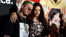 Spanish singer Rosalia (R) poses with Colombian singer J Balvin (L) at the YouTube Music: Latin Music Press Brunch in Las Vegas, Nevada, USA, 14 November 2018. They were preparing to attend the Latin GRAMMY Awards on 15 November. EPA-EFE