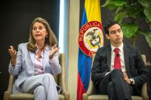 Colombian Vice President Marta Lucia Ramirez (L) and Colombian Public Treasury Deputy Minister Luis Alberto Rodriguez (R) take part in the conference 'The New Government of Colombia: Challenges and Opportunities' at the Miami University, in Miami, Florida, United States, 27 November 2018. EPA/EFE/ Giorgio Viera