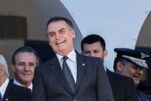 Brazilian President-elect Jair Bolsonaro (c.) attends an officers' graduation ceremony in Sao Paulo state on Nov.30, 2018, after which he called for prudent consideration before his country signs any trade agreements with other nations. EFE-EPA/ Sebastiao Moreira