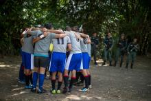 Photo of inmates in Venezuela allowed out their cells on Dec. 1, 2018, to play rugby in a tourney organized by the Santa Teresa rum distillery, giving them a rare opportunity to run around in the fresh air, see their families and just be athletes. EFE-EPA/Miguel Gutierrez