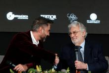 Spanish tenor Placido Domingo (R) and Mexican singer Alejandro Fernandez (L) hold a joint press conference, in Guadalajara, Mexico, 03 December 2018. Placido Domingo announced a charity concert to raise funds for education projects in Mexico through the Real Madrid Foundation. EFE-EPA/ Francisco Guasco