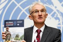 Mark Lowcock, UN Under-Secretary-General for Humanitarian Affairs and Emergency Relief Coordinator, informs the media about the launch of 'Global Humanitarian Overview 2019' and 'World Humanitarian Data and Trends 2018' flagship reports during a press conference at the European headquarters of the United Nations (UNOG) in Geneva, Switzerland, Dec 4, 2018. EFE-EPA/SALVATORE DI NOLFI