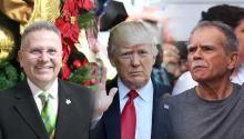 El representante a la Cámara de Puerto Rico, JoséAponte Hernández; el presidenteDonald Trump; y el líder independentistaÓscar López Rivera.