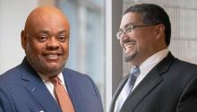 "For the first time in the history of the city — and probably the country — ""the number 1"" and ""the number 2"" in the executive leadership of a large corporation like Independence Blue Cross, with 9,500 employees, are an African American and American of Latino descent. Gregory E. Deavens (left) and Juan Lopez (right).   Courtesy IBX / AL DIA Photo Archive"