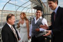 Then-U.S. Rep. Beto O'Rourke (TX-16) meets with a Edgar and Maricruz, a couple who married at the U.S. border. Maricruz's immigration violations bar her from living in the U.S. with her husband. Photo: Medium blog of Beto O'Rourke