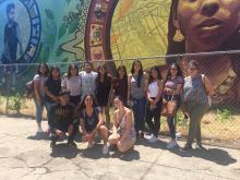 A group of participants in Education in Our Barrios'last summer institute, when theyvisited immigrant rights' organizationJUNTOSas part of theirSouth Philadelphiacommunity learning walk. Photo courtesy of Edwin Mayorga.