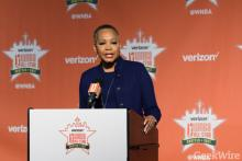 Lisa Borders is leaving her role as WNBA President to become the first-ever President & CEO of Time's Up. GeekWire photo/Kevin Lisota
