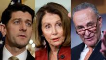 Speaker of the House of Representatives Paul Ryan (R-WI), House Minority Leader Nancy Pelosi (D-CA) and Senate Minority Leader Chuck Schumer (D-NY)