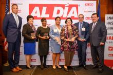Several awardees were honored for their accomplishments in the fields of Health, Business, Education, Public Service and Non-Profit at the Hispanic Heritage Awards. (Photo from Left to right: Walter Perez, Ana Nunez, Uva Coles,Councilwoman Maria Quinones-Sanchez, Nilda Ruiz, Manuel Trujillo, Hernan Guaracao)