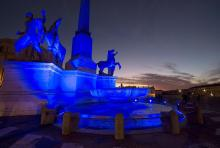 The world is painted in blue on 'World Autism Awareness Day'