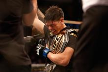 Brandon Moreno of Mexico celebrates after defeating Deiveson Figueiredo of Brazil to win the flyweight championship during their UFC 263 match at Gila River Arena on June 12, 2021 in Glendale, Arizona. (Getty Images)