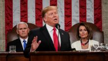 President Donald Trump delivering his State of the Union address with Vice President Mike Pence and House Speaker Nancy Pelosi sitting behind him. Photo: Doug Mills/The New York Times via AP, Pool