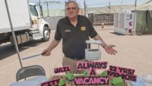 Then-sheriff Joe Arpaio shows off his disturbing Tent City mockup on August 03, 2015.