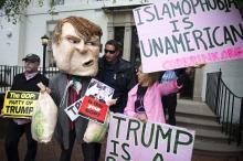 Activistas de Code Pink protestan contra Trump.EFE.