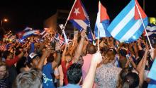 "Photograph of November 26, 2016, of hundreds of people celebrating after the death of the leader of the Cuban revolution Fidel Castro, in Little Havana in Miami (USA). Echo Street in Little Havana lived a full day of celebration after the death of Fidel Castro, with the music of loudspeakers and bongos in full volume and those present ready to be there ""until dawn."" EFE"