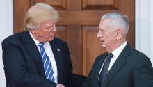 Archive: (11/19/2016) President-elected Donald Trump (L) shakes James Mattis' hand. Mattis has been nominated as new Secretary of State. EFE.