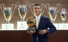Real Madrid's Cristiano Ronaldo, in the Boardroom of the Santiago Bernabéu Stadium after winning his fourth Ballon d'Or and one away from matching Lionel Messi's five trophies. Photo:EFE