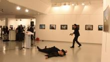 """Andrey Karlov, the Russian ambassador to Turkey, was assassinated by a Turkish police officer during a gallery opening in Ankara. The gunman was heard shouting """"Don't forget Syria"""" during the attack. EFE/SOZCU"""