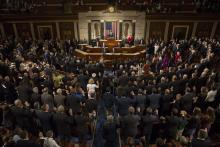 Members of Congress sworn into office before almost unanimously re-electing Republican Paul Ryan, president of the US House of Representatives, during a session of Congress on Capitol Hill, Washington. Photo:EFE