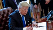 "US President Donald Trump during the signing of two executive orders to revive controversial Keystone XL and Dakota Access oil pipeline projects during a White House event in Washington, United States. Trump said the construction of these two projects, planned for years but paralyzed by the Obama administration, will be subject to ""terms and conditions"" that his cabinet will ""negotiate"" with the companies in charge of building them. EFE"