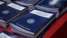 Copies of President Trump's budget at the Government Publishing Office bookstore in Washington on Thursday.EFE/Shawn Thew