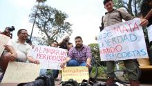 Journalists are protesting the murder of three of their comrades, in Guadalajara (Mexico) in 2017: Miroslava Breach (Chihuahua), Ricardo Monluí (Veracruz) and Cecilio Pineda (Guerrero). EFE