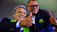 Ecuador's officialist candidate Lenin Moreno (C) celebrates during the last hours before the results of the presidential election, with Ecuador's Vice President Jorge Glas (R) in Quito, Ecuador. EFE