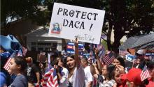 "Thousands of undocumented students covered by the Deferred Action for Child Arrivals (DACA) claim during Dallas' ""Megamarch 2017"" more security for themselves and their families, who feel ""continually threatened"" By the strong immigration rhetoric of the president of the United States, Republican Donald Trump. EFE"