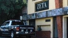 Photograph of a State Police van in front of the facilities of the weekly Zeta, on Monday, April 10, 2017, in Tijuana, Mexico. Mexico's National Human Rights Commission (CNDH) today requested the Baja California state government to implement protective measures for officers, employees and facilities of the weekly magazine Zeta in the face of alleged threats from organized crime. EFE / Joebeth Terriquez