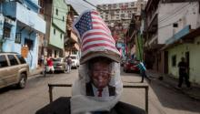 A protester mocking at Donald Trump during Easter week celebrations in Caracas, Venezuela. EFE/MIGUEL GUTIERREZ