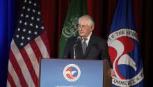 "Secretary of State Rex Tillerson on April 19 said the Iran nuclear deal ""really does not achieve"" its goal of preventing Iran from obtaining nuclear weapons. In the photo, Tillerson speaks at the US-Saudi Arabia CEO Summit at the US Chamber of Commerce in Washington, DC, USA, 19 April 2017. EPA/TASOS KATOPODIS"