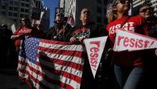 Several people march in front of the ICE offices in San Francisco, California, on May 1st, 2017 to commemorate International Worker's Day. EFE/John G. Mabanglo