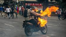 Violent protests occurred in Caracas, the capital of Venezuela, this week. EFE/CRISTIAN HERNÁNDEZ