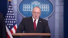 Acting Director of Immigration and Customs Thomas Homan talks about the immigration policies of the Trump administration during a press conference in the press room James Brady of the White House in Washington. EFE