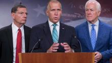 Republican senators from North Carolina Thom Tillis, Wyoming John Barrsso (left) and Texas John Cornyn give a press conference to present the Republican legislative proposal to increase border security and tightening of immigration laws on Capitol Hill, Washington DC (United States). EFE