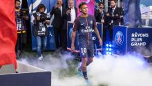 Brazilian striker Neymar Jr during his official presentation to the public as PSG player prior to the French Ligue 1 soccer match between Paris Saint-Germain (PSG) and Amiens SC at the Parc des Princes stadium in Paris, France. EFE