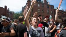 Counter-protesters gather on Mount Vernon Street after chasing a supporter of US President Donald Trump in Boston, Massachusetts, USA. Thousands of both white nationalists or the 'Alt-Right' and counter protesters have organized protests in Boston. EFE
