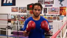 El boxeador transgéneroPatManuel entrenando elmartes 22 de agosto, en el Club de Boxeo Duarte en Los Ángeles, California (EE.UU.). EFE