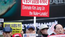 North Korean deserters and activists shout slogans during a demonstration against North Korea's sixth nuclear test in central Seoul, South Korea. EFE