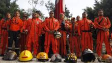 "Rescuers known as ""Los Topos"" held an honor guard to commemorate the 32nd anniversary of the September 19, 1985, earthquake just before the earthquake that struck Mexico on Tuesday. EFE"