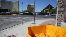 View of a blood-covered wheelbarrow today, Monday, October 2, 2017, near the scene of a shooting while a country music festival was held in Las Vegas, Nevada. EFE.