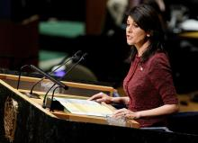 The United States ambassador to the UN, Nikki Haley, at the United Nations headquarters in New York (United States) today, December 21, 2017.
