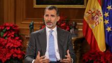 El Rey Felipe VI de España habló del problema catalán en su tradicional discurso de Nochebuena desde el Palacio de la Zarzuela, en Madrid. EFE/Ballesteros POOL
