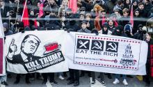 Protestas en contra de Donald Trump y del Foro Económico Mundial (WEF) que tendrá lugar entre el 23 y 26 de enero en Davos, Suiza. Trump es el primer presidente americano en asistir a Davos en veinte años. EFE/EPA/CHRISTIAN MERZ