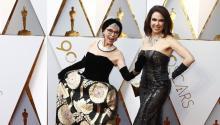RitaMorenojunto a Fernanda Luisa Gordon posa para la prensa antes de entrar en el Dolby Theater para la gala de los Oscars. EFE/EPA/MIKE NELSON