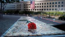 A view of the monument erected for the victims in the Pentagon during the dawn that marks the seventeenth anniversary of the 2001 attack in Arlington, Virginia. EFE