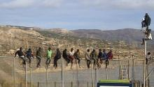 Around 25 subsaharan immigrants remain perched on the top of a fence in Melilla and they belong to a group that has tried to access the autonomous city around 9h00. The immigrants are in the Aguadú region, in the north zone of Melilla. EFE.